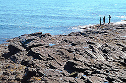 Beach rocks and stones formed by surf Maine rocky coast