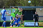 Forest Green Rovers defender Mark Ellis (5) heads at goal 0-0 during the Vanarama National League match between Forest Green Rovers and North Ferriby United at the New Lawn, Forest Green, United Kingdom on 1 April 2017. Photo by Alan Franklin.