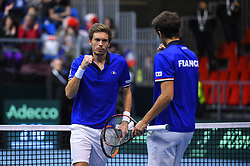 Nicolas Mahut (FRA) and Pierre-Hugues Herbert (FRA) during double at the Davis Cup first round tie against Netherlands, in Albertville, halle Olympique, France on february, 3, 2018. Photo by Corinne Dubreuil/ABACAPRESS.COM