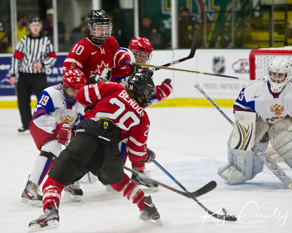 2012 IIHF Woman's World Championship Group A Preliminary Round between Team Canada and Team Russia on April 10, 2012 at Gutterson Fieldhouse in Burlington Vermont. Canada won 14-1.