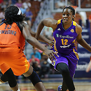 UNCASVILLE, CONNECTICUT- MAY 26: Chelsea Gray #12 of the Los Angeles Sparks in action during the Los Angeles Sparks Vs Connecticut Sun, WNBA regular season game at Mohegan Sun Arena on May 26, 2016 in Uncasville, Connecticut. (Photo by Tim Clayton/Corbis via Getty Images)