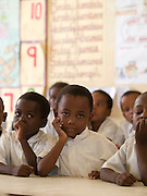 Nusery school children at Saateni nursery school, where VSO volunteer, Daphne Sharpe is working as a teacher trainer. Daphne has now trained over 100 nusery school teachers and 18 heads of pre school.