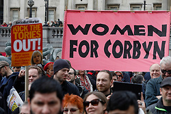 © Licensed to London News Pictures.01/05/2017.London, UK. A pro Jeremy Corbyn banner flying as Workers and activists take part in a march from Clerkenwell Green to Trafalgar Square in London on May,  May 1, 2017.Photo credit: Tom Nicholson/LNP