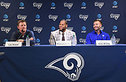 Apr 6, 2018; Thousand Oaks, CA, USA; Los Angeles Rams general manager Les Snead (left), defensive tackle Ndamukong Suh (center) and coach Sean McVay at a press conference at Cal Lutheran.