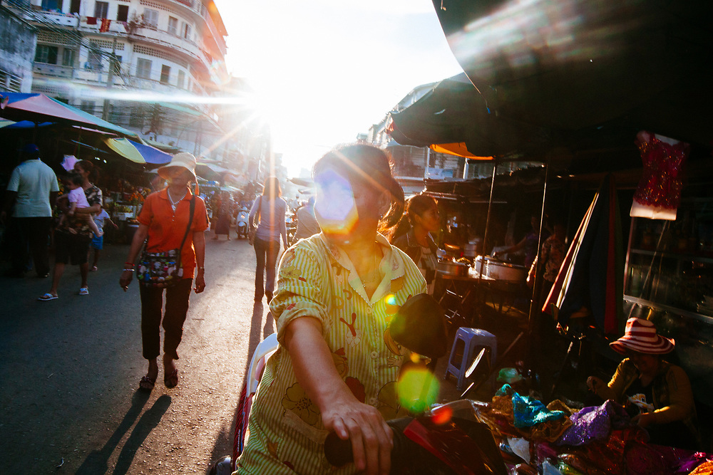 Sunset near the market in Phnom Penh, Cambodia.