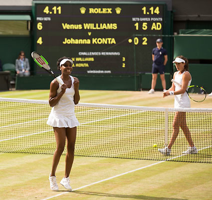 VENUS WILLIAMS (USA) jubelt nach ihrem Sieg, Jubel,Freude,Emotion,JOHANNA KONTA (GBR) <br /> <br /> Tennis - Wimbledon 2017 - Grand Slam ITF / ATP / WTA -  AELTC - London -  - Great Britain  - 13 July 2017.