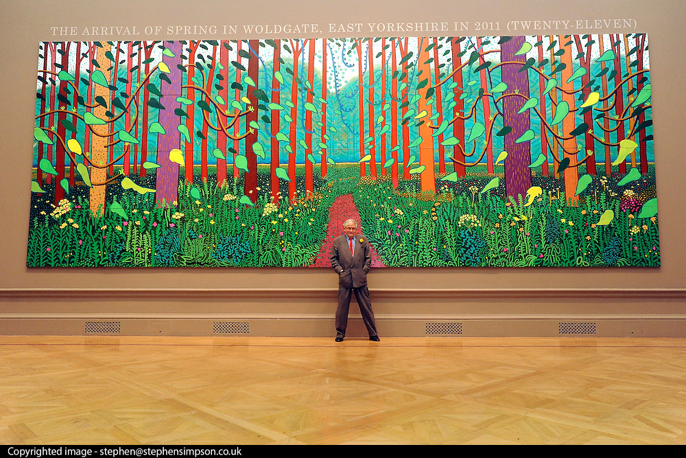 © Licensed to London News Pictures. 16/01/2012, London, UK. Artist DAVID HOCKNEY poses with his painting The Arrival Of Spring In Woldgate, East Yorkshire in 2011. The Royal Academy of Arts will showcase the first major exhibition of new landscape works by David Hockney RA. Featuring vivid paintings inspired by the East Yorkshire landscape, these large-scale works have been created especially for the galleries at the Royal Academy of Arts. The exhibition runs from Saturday 21 January – Monday 9 April 2012.  Photo credit : Stephen Simpson/LNP