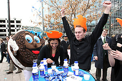"Dancers the public and the Oreo mascot ""Oreo Man"" celebrate Oreo's 100th birthday at the Gallivan Center in Salt Lake City, Tuesday, March 6, 2012. (Colin E Braley/AP Images for Oreo)"