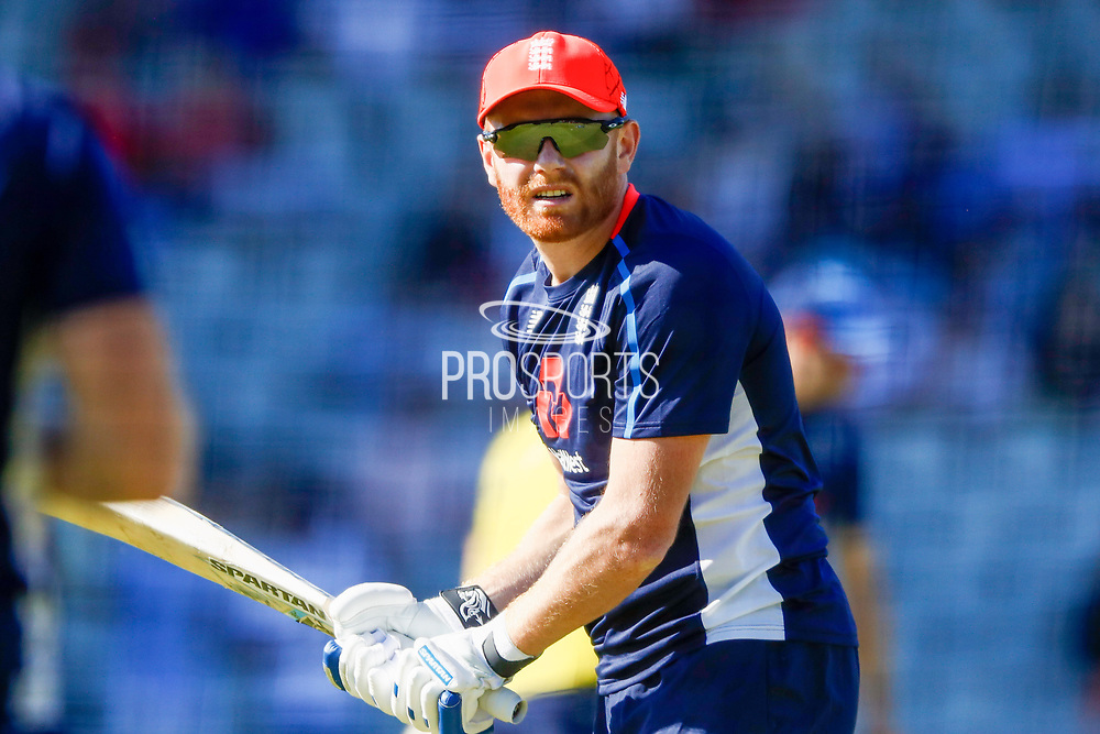 England T20 batsman Jonny Bairstow warming up  during the International T20 match between England and India at Old Trafford, Manchester, England on 3 July 2018. Picture by Simon Davies.