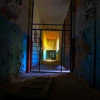 Dark interior corridor of an old mental hospital in Russia