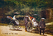 Rickshaw , hand tinted postcard from Japan circa 1900