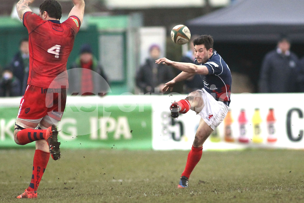 Dan Newton of London Scottish in action during the Green King IPA Championship match between London Scottish &amp; Bristol at Richmond, Greater London on 7th February 2015<br /> <br /> Photo: Ken Sparks | UK Sports Pics Ltd<br /> London Scottish v Bristol, Green King IPA Championship, 7th February 2015<br /> <br /> &copy; UK Sports Pics Ltd. FA Accredited. Football League Licence No:  FL14/15/P5700.Football Conference Licence No: PCONF 051/14 Tel +44(0)7968 045353. email ken@uksportspics.co.uk, 7 Leslie Park Road, East Croydon, Surrey CR0 6TN. Credit UK Sports Pics Ltd