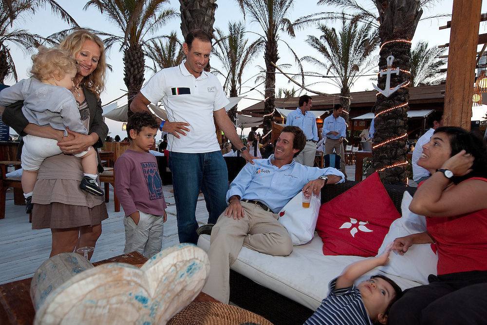 Francesco Bruni and Alvaro Marinho enjoy some time with their families at the opening ceremony of Portimao Portugal Match Cup 2010. World Match Racing Tour. Portimao, Portugal. 23 June 2010. Photo: Gareth Cooke/Subzero Images