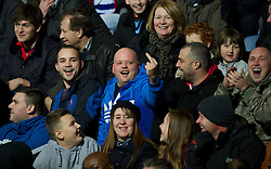 LONDON, ENGLAND - Sunday, December 30, 2012: A Queens Park Rangers supporter makes a fool of himself in front of the travelling supporters during the Premiership match against Liverpool at Loftus Road. (Pic by David Rawcliffe/Propaganda)