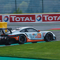 #86, Gulf Racing, Porsche 911 RSR, LMGTE Am, driven by: Michael Wainwright, Ben Barker, Alexander Davison at FIA WEC Spa 6h 2019 on 04.06.2019 at Circuit de Spa-Francorchamps, Belgium