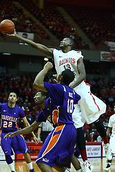 07 January 2012:  John Wilkins gets called for a foul as he extends of a pair of aces during an NCAA Missouri Valley Conference mens basketball game Where the Purple Aces of Evansville lost to the Illinois State Redbirds 75-73 in Redbird Arena, Normal IL
