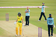 Frustrated Katherine Brunt during the Royal London Women's One Day International match between England Women Cricket and Australia at the Fischer County Ground, Grace Road, Leicester, United Kingdom on 2 July 2019.