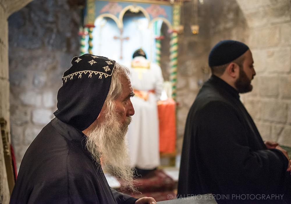 """St. Mark's Syrian Orthodox Monastery in the Armenian quarter. Armenian presence in Jerusalem dates back to the fourth century AD. Following Armenia's adoption of Christianity in that century, monks settled in the Holy City. It is thus the """"oldest living Diaspora community outside the Armenian homeland."""