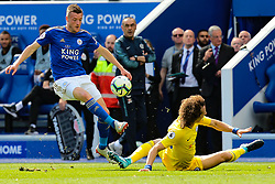 May 12, 2019 - Leicester, England, United Kingdom - Leicester City forward Jamie Vardy goes passed David Luiz of Chelsea during the Premier League match between Leicester City and Chelsea at the King Power Stadium, Leicester on Sunday 12th May 2019. (Credit Image: © Mi News/NurPhoto via ZUMA Press)