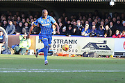 Tom Elliott of AFC Wimbledon races through to make it two during the Sky Bet League 2 match between AFC Wimbledon and Yeovil Town at the Cherry Red Records Stadium, Kingston, England on 30 January 2016. Photo by Stuart Butcher.