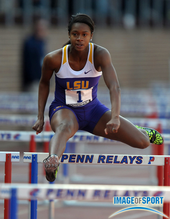 Apr 27, 2012; Philadelphia, PA, USA; Jasmin Stowers of LSU was the top qualifier in the womens 100m hurdles in 13.24 in the 118th Penn Relays at Franklin Field.