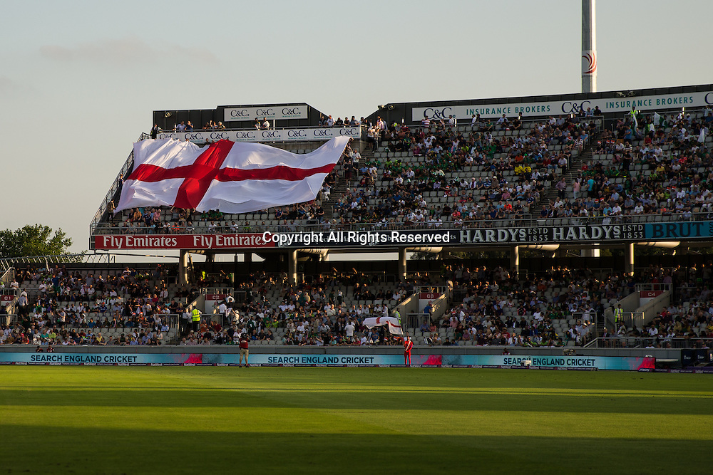 07.09.2016. Old Trafford, Manchester, England. Natwest International T20 Cricket. England Versus Pakistan. An English flag moves across the top stand.