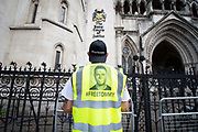 Tommy Robinson AKA Stephen Yaxley Lennon appeal hearing at The High Courts of Justice, London, Great Britain <br /> 18th July 2018 <br /> <br /> Tommy Robinson supporters outside the High Court as the appeal gets underway inside. <br /> <br /> Photograph by Elliott Franks