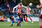 Conor McLaughlin of Sunderland under pressure from Rolando Aarons of Wycombe Wanderers during the EFL Sky Bet League 1 match between Wycombe Wanderers and Sunderland at Adams Park, High Wycombe, England on 19 October 2019.