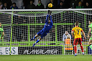 Forest Green Rovers goalkeeper James Montgomery makes a save during the EFL Sky Bet League 2 match between Forest Green Rovers and Northampton Town at the New Lawn, Forest Green, United Kingdom on 1 January 2019.