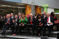 © Licensed to London News Pictures. 16/05/2017. Bradford, UK. Labour leader Jeremy Corbyn sits with his shadow cabinet before he launches the Labour Party's 2017 general election manifesto at an event at Bradford University in West Yorkshire. Photo credit : Ian Hinchliffe/LNP
