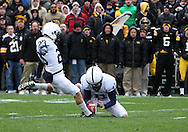 08 NOVEMBER 2008: Penn State kicker Kevin Kelly (23) kicks a field goal from the hold of Penn State's Jeremy Boone (41) in the first half of an NCAA college football game against Penn State, at Kinnick Stadium in Iowa City, Iowa on Saturday Nov. 8, 2008. Iowa beat Penn State 24-23.