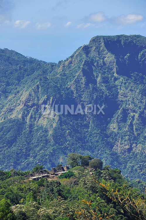 Distant view of Bena Village, Bajawa,. Flores. Villages were built on peaks to protect against attack.