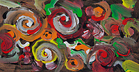 abstract round shapes painting: abstract image with round spiral shapes, bended lines and spots