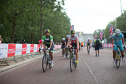 Carmen Small (USA) of Cylance Pro Cycling chats to team mate Doris Schweizer (SUI) after finishing the Prudential RideLondon Classique, a 66 km road race in London on July 30, 2016 in the United Kingdom.