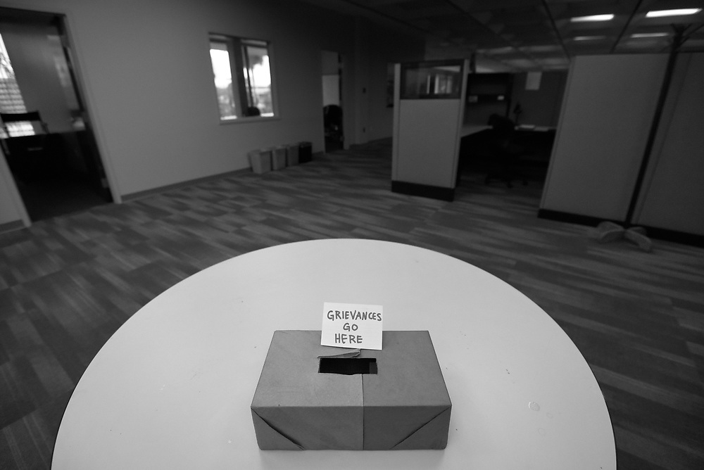 A box for grievances is seen in The Tampa Tribune newsroom just prior to the announcement that rival Tampa Bay Times purchased the paper Tuesday, May 3, 2016. CHRIS URSO/STAFF