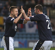 Lewis Toshney congratulates John Baird  after the striker had scored Dundee's third goal - Dundee v Greenock Morton, William Hill Scottish Cup 5th Round at Dens Park .. - © David Young - www.davidyoungphoto.co.uk - email: davidyoungphoto@gmail.com