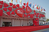 Final preparations are being made at Venice Lido for the 72nd Venice Film Festival which  opens tomorrow, 2nd September. The film 'Everest' will open the Festival that runs from 2nd to 12th September 2015.  Venice, Lido, Italy, 1st September 2015.