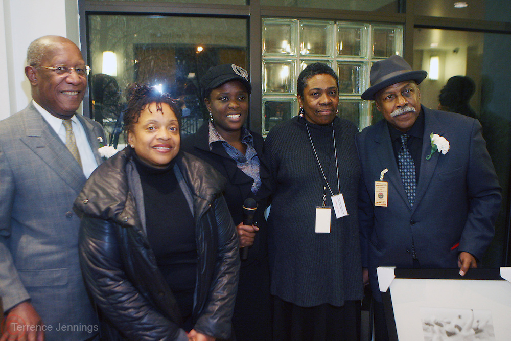 31 January 2011-New York, NY-  l to r: Howard Dodson, Dr. Deb Willis, Cordelle Clare, Mary Yearwood, and Omawale Clay at The Schomburg Center's dual Opening of Soulful Stitching and Harlem Views: Diasporian Visions Exhibitions held at the Schomburg Center for Research in Black Culture on January 31, 2011 in Harlem, New York City. Photo credit: Terrence Jennings