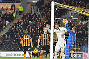 Hull City goalkeeper Allan McGregor (1) takes ball safe from Leeds United striker Pierre-Michel Lasogga (9) during the EFL Sky Bet Championship match between Hull City and Leeds United at the KCOM Stadium, Kingston upon Hull, England on 30 January 2018. Photo by Ian Lyall.