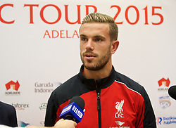 ADELAIDE, AUSTRALIA - Saturday, July 18, 2015: Liverpool's captain Jordan Henderson during a press conference at Adelaide Airport ahead of a preseason friendly match against Adelaide United on day six of the club's preseason tour. (Pic by David Rawcliffe/Propaganda)