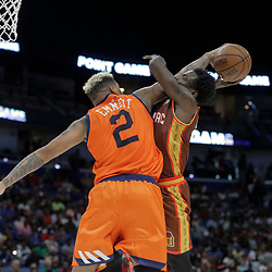Aug 25, 2019; New Orleans, LA, USA; Three Company Andre Emmett blocks a shot by Bivouac player Will Bynum during the Big Three Playoffs at the Smoothie King Center. Mandatory Credit: Derick E. Hingle-USA TODAY Sports