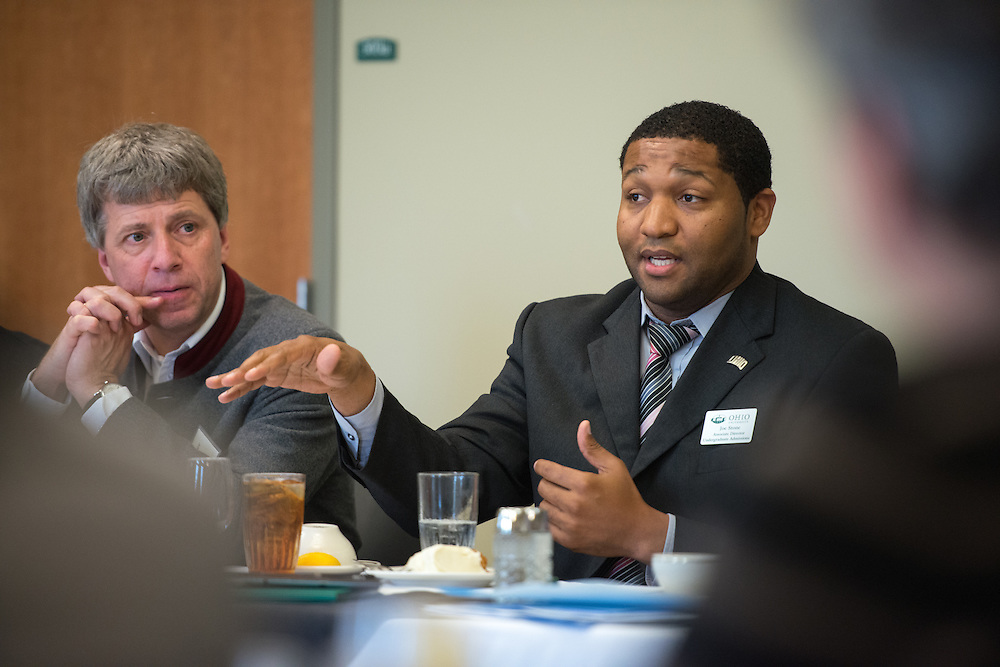 Joe Stone, Associate Director of Undergraduate Admissions discusses diversity at Ohio University with 12 presidents from German universities and one person from the Fulbright program out of New York. Photo by Ben Siegel