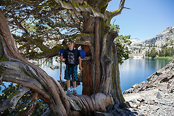 """Boy at Heather Lake"" - This boy was photographed standing in a tree while backpacking at Heather Lake in the Tahoe Desolation Wilderness."