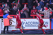 Accrington Stanley's Jordan Clark(7)  scores a goal 2-1 and celebrates during the EFL Sky Bet League 2 match between Accrington Stanley and Forest Green Rovers at the Wham Stadium, Accrington, England on 17 March 2018. Picture by Shane Healey.