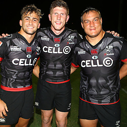 Jeremy Ward of the Cell C Sharks with Jacques Vermeulen of the Cell C Sharks and Coenie Oosthuizen of the Cell C Sharks during The Cell C Sharks Pre Season warm up game 2 Cell C Sharks A and Toyota Cheetahs A,at King Zwelithini Stadium, Umlazi, Durban, South Africa. Friday, 3rd February 2017 (Photo by Steve Haag)