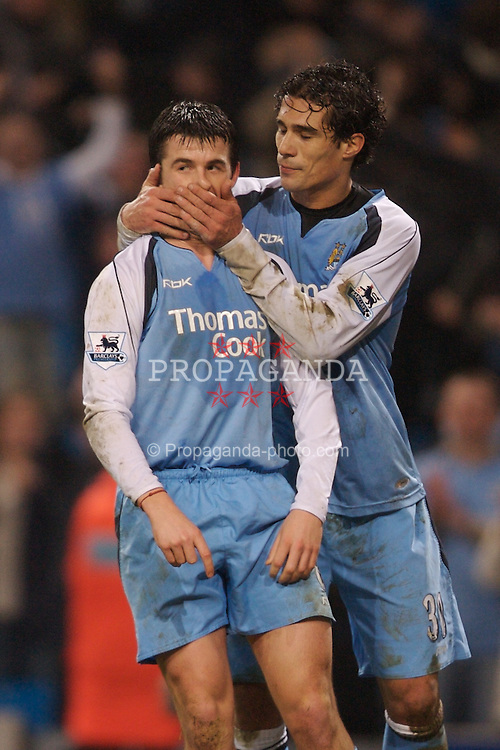 Manchester, England - Tuesday, January 16, 2007: Manchester City's Joey Barton and Bernado Corradi during the FA Cup 3rd Round Replay against Sheffield Wednesday at the City of Manchester Stadium. (Pic by David Rawcliffe/Propaganda)