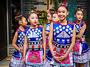 "29 APRIL 2017 - MINNEAPOLIS, MINNESOTA: Girls wait to perform in a Songkran talent show at Songkran Uptown. Several thousand people attended Songkran Uptown on Hennepin Ave in Minneapolis for the city's first celebration of Songkran, the traditional Thai New Year. Events included a Thai parade, a performance of the Ramakien (the Thai version of the Indian Ramayana), a ""Ladyboy"" (drag queen) show, and Thai street food.     PHOTO BY JACK KURTZ"