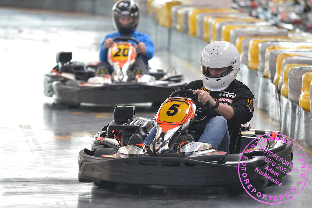 Racing driver Tomasz Kuchar while GoKarts Racing on F1 Karting Track four days before the BNP Paribas Davis Cup 2014 between Poland and Croatia in Warsaw on March 31, 2014.<br /> <br /> Poland, Warsaw, March 31, 2014<br /> <br /> Picture also available in RAW (NEF) or TIFF format on special request.<br /> <br /> For editorial use only. Any commercial or promotional use requires permission.<br /> <br /> Mandatory credit:<br /> Photo by © Adam Nurkiewicz / Mediasport