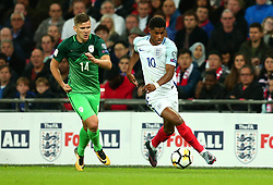 Marcus Rashford of England goes past Roman Bezjak of Slovenia - Mandatory by-line: Robbie Stephenson/JMP - 05/10/2017 - FOOTBALL - Wembley Stadium - London, United Kingdom - England v Slovenia - World Cup qualifier