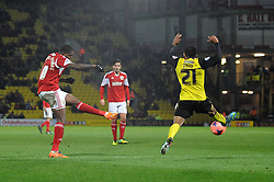 Bristol City's Jay Emmanuel-Thomas takes a shot at goal. - Photo mandatory by-line: Dougie Allward/JMP - Tel: Mobile: 07966 386802 14/01/2014 - SPORT - FOOTBALL - Vicarage Road - Watford - Watford v Bristol City - FA Cup - Third Round - replay